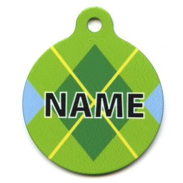 Lime Argyle Plaid HD Pet ID Tag