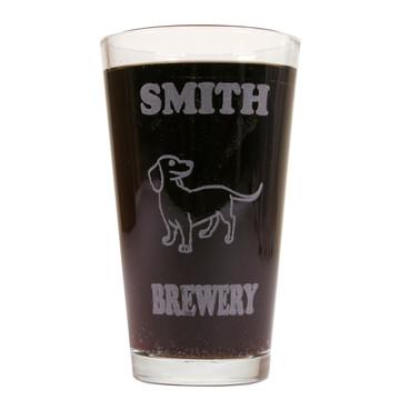 Personalized Pint Glass Beer Mug - Dachshund