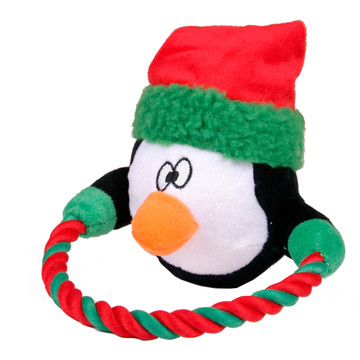 Rope Ring Holiday Penguin Dog Toy