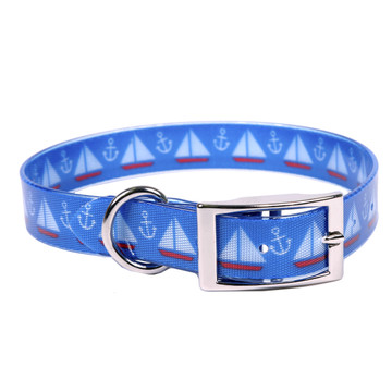 Sailboats and Anchors Elements Dog Collar