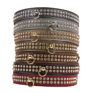Color Leather 2-Row Crystal Dog Collar