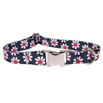 Black Daisy Premium Metal Buckle Dog Collar