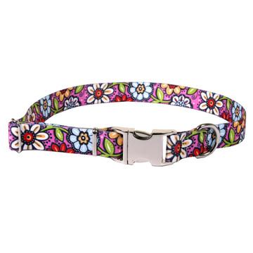 Pink Garden Premium Metal Buckle Dog Collar