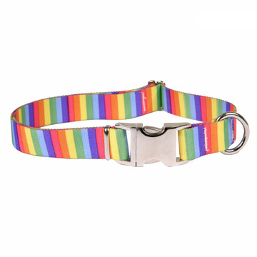 Rainbow Stripes Premium Metal Buckle Dog Collar