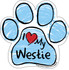 I Love My Westie BLUE Scribble Paw Magnet