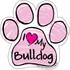 I Love My Bulldog PINK Scribble Paw Magnet
