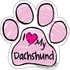 I Love My Dachshund PINK Scribble Paw Magnet