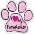 I Love My Pomeranian PINK Scribble Paw Magnet