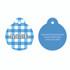Gingham Blue HD Pet ID Tag