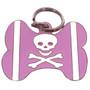 PINK Skull & Crossbones BONE Shaped Engraved Pet ID Tag