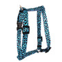 """Leopard Teal Roman Style """"H"""" Dog Harness"""