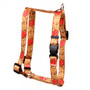 """Leather Rose Red Roman Style """"H"""" Fabric Dog Harness"""