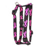 "Breast Cancer Black Roman Style ""H"" Dog Harness"