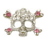 Skull and Crossbones Charm - Pink (10mm)