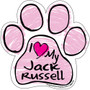 I Love My Jack Russell PINK Scribble Paw Magnet