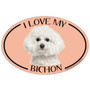 I Love My Bichon Colorful Oval Magnet