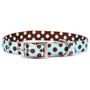 Blue and Brown Polka Dot Uptown Designer Dog Collar