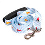 Southern Dawg Seersucker Blue with Multi Flags Premium Dog Leash