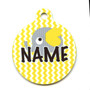Yellow Elephants HD Pet ID Tag