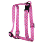 Pink and Purple Diagonal Plaid Roman Style H Dog Harness