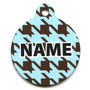 Houndstooth Blue and Brown HD Pet ID Tag