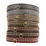 Color Leather 2-Row Crystal Dog Collar