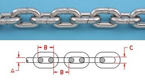"""50 ft 1//4/"""" BBB Marine Anchor Chain 144 µm Micron Thick Galvanized Boat DIN766"""