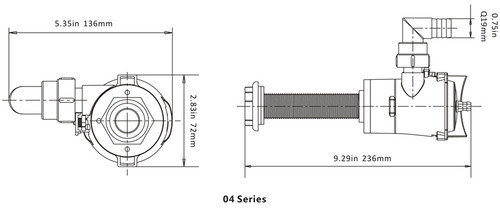Seaflo 600gph / 12V Straight Livewell/Baitwell Aerator