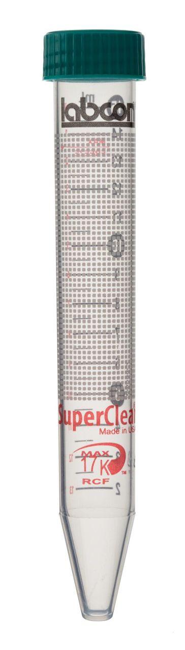 SuperClear 15ml Sterile Centrifuge Tubes, Flat Cap, CB Fiber Rack (500/CS)