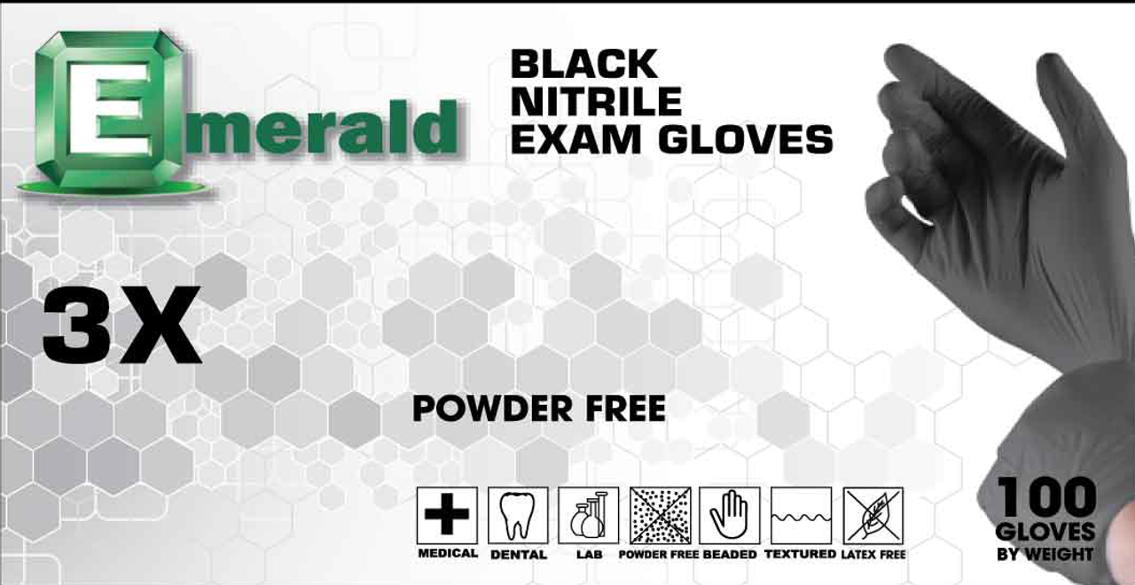 Emerald 3X Black Exam Nitrile Powder-Free 4 Mil (CS/1000)