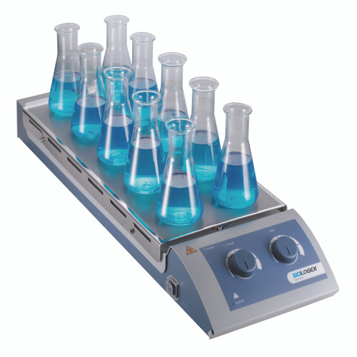 Scilogex MS-H-S10 Analog Magnetic Hotplate Stirrer 10-Channel, w/ Steel Plate