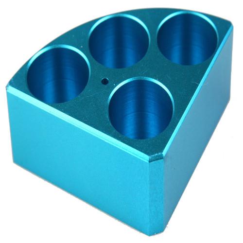 Scilogex Blue Quarter Reaction Block, 4 Holes 30ml Reaction Vessel (28mm Dia. x 30mm Depth)