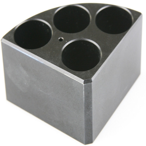 Scilogex Black Quarter Reaction Block, 4 Holes 16ml Reaction Vessel (28mm Dia. x 43mm Depth)
