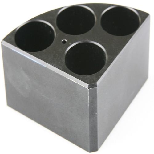 Scilogex Black Quarter Reaction Block, 4 Holes 16ml Reaction Vessel (28mm Dia. x 43mm Depth)