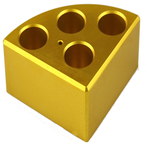Scilogex Gold Quarter Reaction Block, 4 Holes 16ml Reaction Vessel (21.6mm Dia. x 31.7mm Depth)