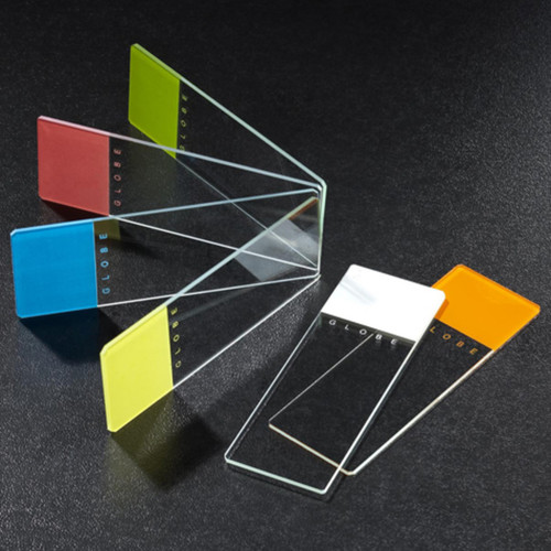 Microscope Slides, Glass, 25 x 75mm, 45 Deg. Beveled Edges w/ Clipped Corners, Green Frosted (1 Side), 72/Box, 2 Boxes/Case (1 Gross)
