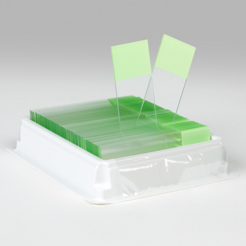 Diamond White Glass, 25 x 75mm, Charged, 90 Deg. Ground Edges, Green Frosted, 72/Box