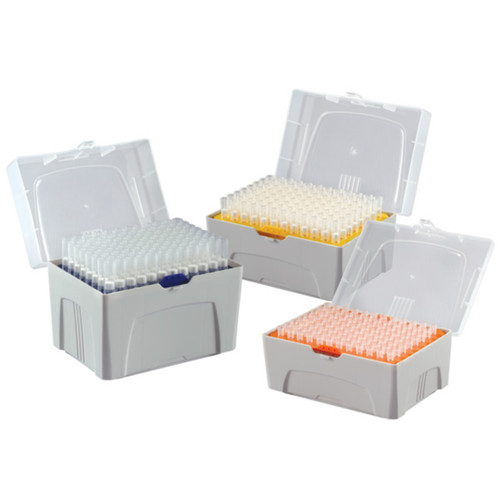 Pipette Tip, 1 - 200uL, Certified, Universal, Low Retention, Graduated, 54mm, Natural, Sterile, 96/Rack, 10 Racks/Box