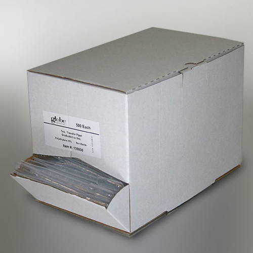 Transfer Pipet, 1.5mL, Pediatric, Graduated to 0.3mL, 115mm, 500/Dispenser Box, 10 Boxes/Unit