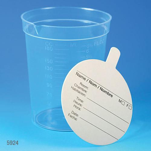 Polypropylene Specimen Container, 6.5oz w/ Pour Spout & Paper Lid, Case/500