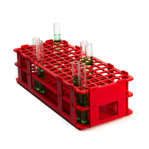 No-Wire Polypropylene Test Tube Rack, Red