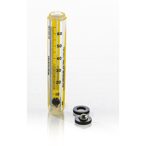 Riteflow Borosilicate Glass Unmounted Flowmeter, 65mm Scale, Size 6