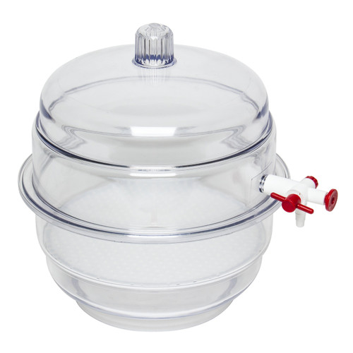 Space Saver Polycarbonate Vacuum Desiccator, Clear Bottom, 0.2CU