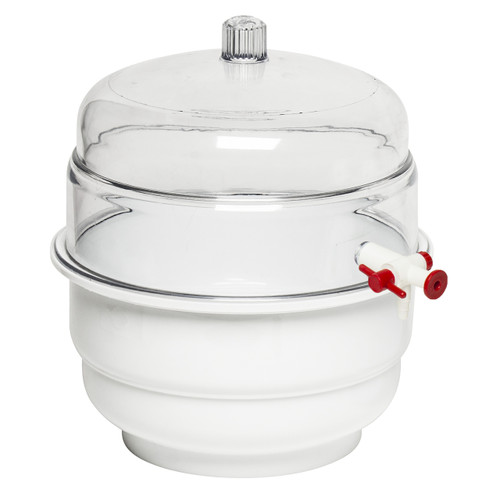 Space Saver Polycarbonate Vacuum Desiccator, White Bottom, 0.31CU