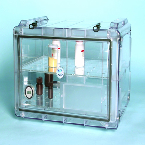 Secador Clear 4.0 Horizontal Desiccator Cabinet w/ Blue End Caps, 1.9CU