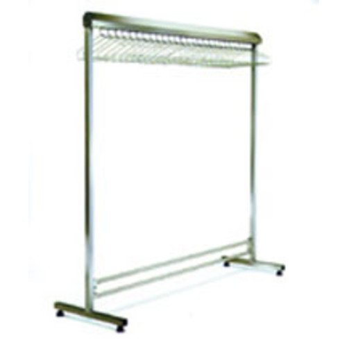 "Single Gown Rack with Hanger Rail (incl. Domed Cap): 24"" x 72"" Stainless Steel Finish"