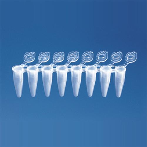PCR 8-Tube Strip, 0.15ml, Attached Flat Cap (120 Tubes)