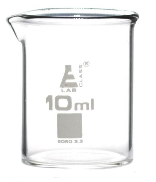 10ml Graduated Beaker Low Form - Borosilicate Glass (CS/12)