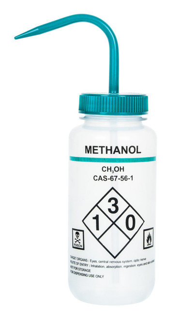 1000ml Labelled Wash Bottle - Methanol - (CS/4)