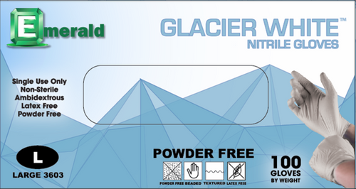 Emerald Glacier White Nitrile Powder-Free 3 Mil GP (CS/1000)